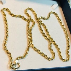 14K Solid Gold Diamond Cut Rope Necklace